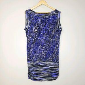 BCBG Sleeveless Blue Grey Print Medium Tunic